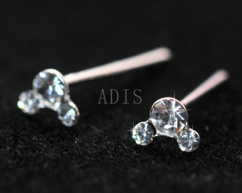 Lovely Mickey head nose piercing Titanium nose stud claw with Zircon