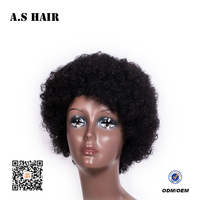 Short Afro human hairstyle Synthetic natural black kinky curly hair synthetic Lace Front Wig for black women