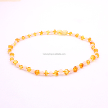 100% Natural Amber Stone Baltic Amber <strong>Necklace</strong> for Baby Honey with Quartz Beads