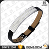 Fashion Style Adjustable Size Genuine Leather 316L Stainless Steel Cuff Fitness Shell Pearl Bracelet