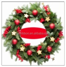 Red Flowers +Balls+ Glitter Stars Decoratived PVC Wreath for Wedding /holiday Party decoration