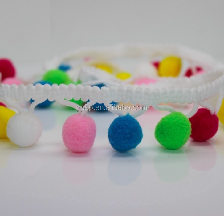 Hot sale multi color pom pom lace trim in stock