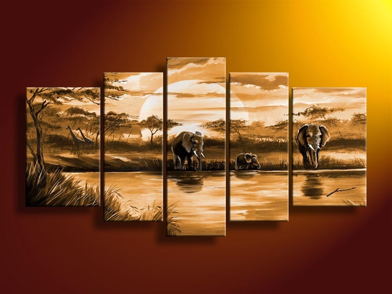 Handmade New Modern Group African landscape oil painting, Decorative painting African landscape