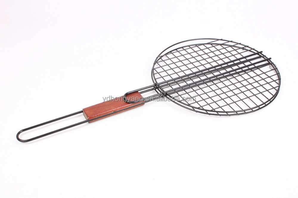 yangjiang popular portable wood handle steel bbq grill round shape metal mesh