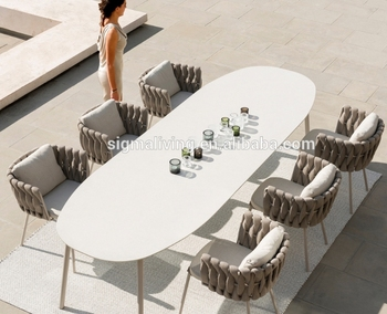 New arrival garden outdoor furniture leisure carbon rope chairs oval dining table set