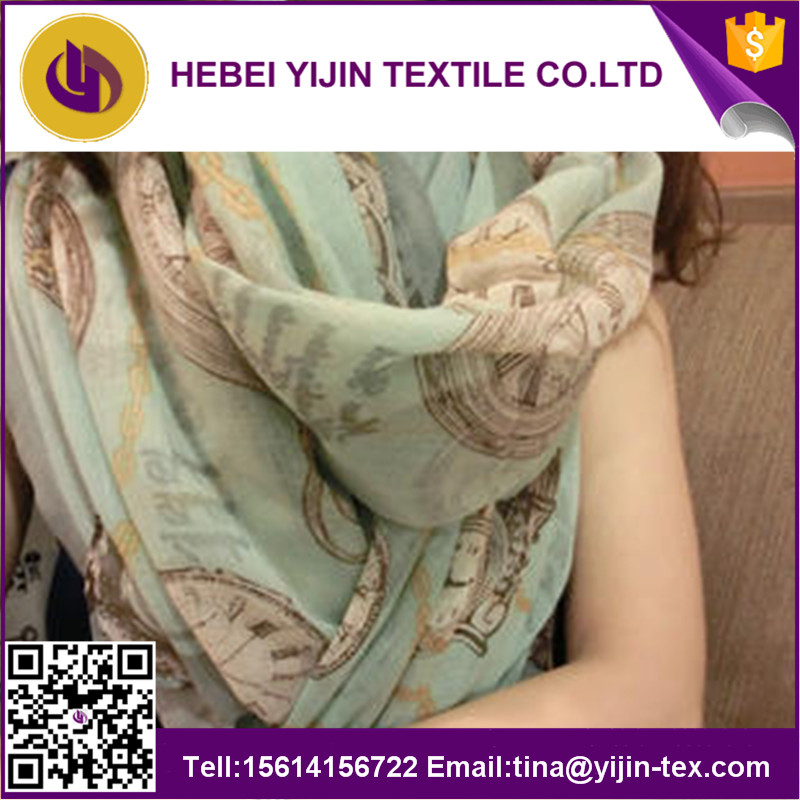 100% polyester voile printed cheap fashion scarves