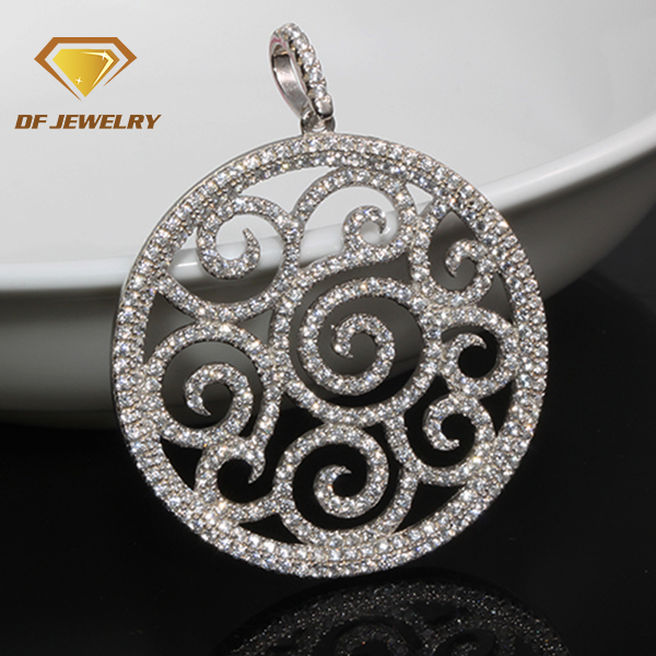 2018 New AAAAA Cubic Zirconia Big Silver Flower Pendant