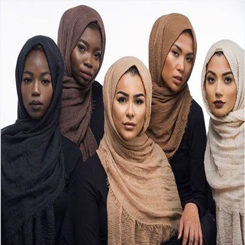 Muslim Head Hijab Good Quality Scarf Solid Color Ladies <strong>Cotton</strong> Crinkle Plain Wrinkle Wrap Bubble Long Scarf Women Crinkled Shawl