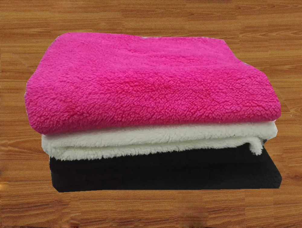 polyester solid color super soft sherpa fleece fabric