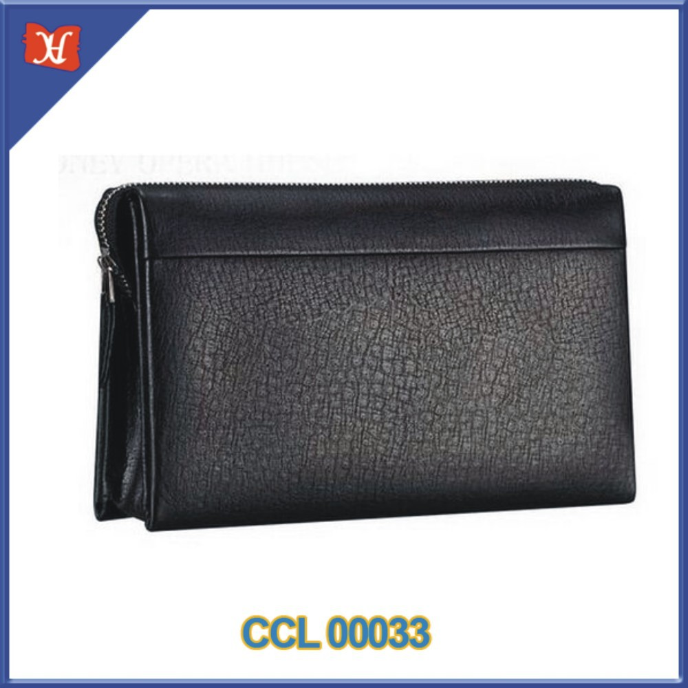 Men's Leather Handbag Long Wallet Color Black Large