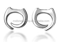 Melone 925 Sterling Silver Small Cartoon Cat Top Design Stud Earring