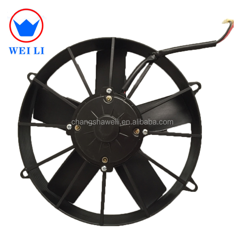 High speed big air flow thermo king bus/truck air conditioning cooling fan 24v dc brushes condenser fan