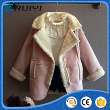 Fashion girls lamb wool plush suede coat for kids fake fur thick warm winter parka