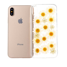 Genuine Pressed Flower Transparent Clear TPU Silicone Phone Case Cover For IPhone 6 7 8 Plus X