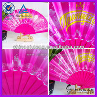 Custom Logo Paper Hand Held Fan with Plastic Handle