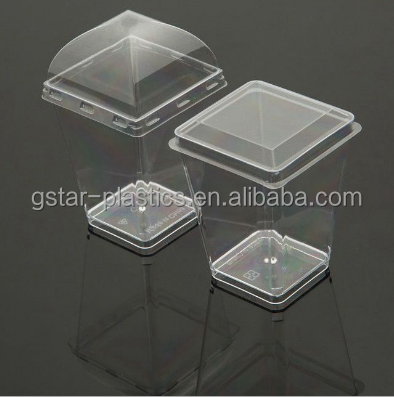 high quality Disposable PS Plastic cups/160ml Ps Dessert Cup/Min Square Mousse cup with lids