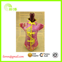 Promotional colorful fashionable cloth pattern wine bottle cover for christmas