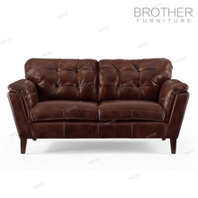 New design vintage American style genuine leather two seat sofa furniture