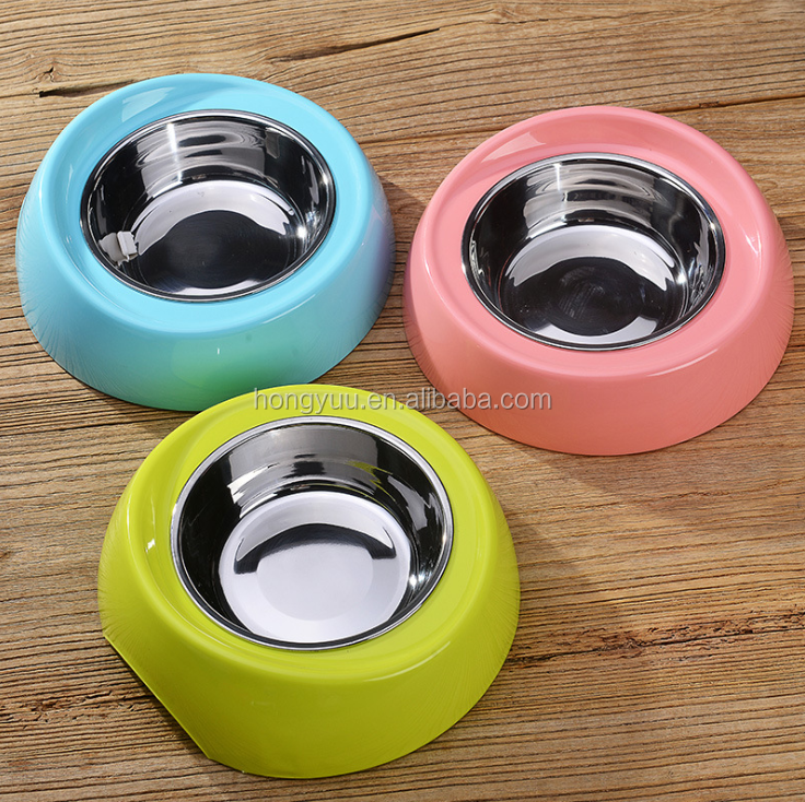 HOT SALE Pet bowl PP resin and Stainless Steel Candy Color food and water dog bowl