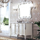 Exclusive White Marble Stone Top Single Sink Bathroom Vanities w/ Silver Leaf Decor No.352