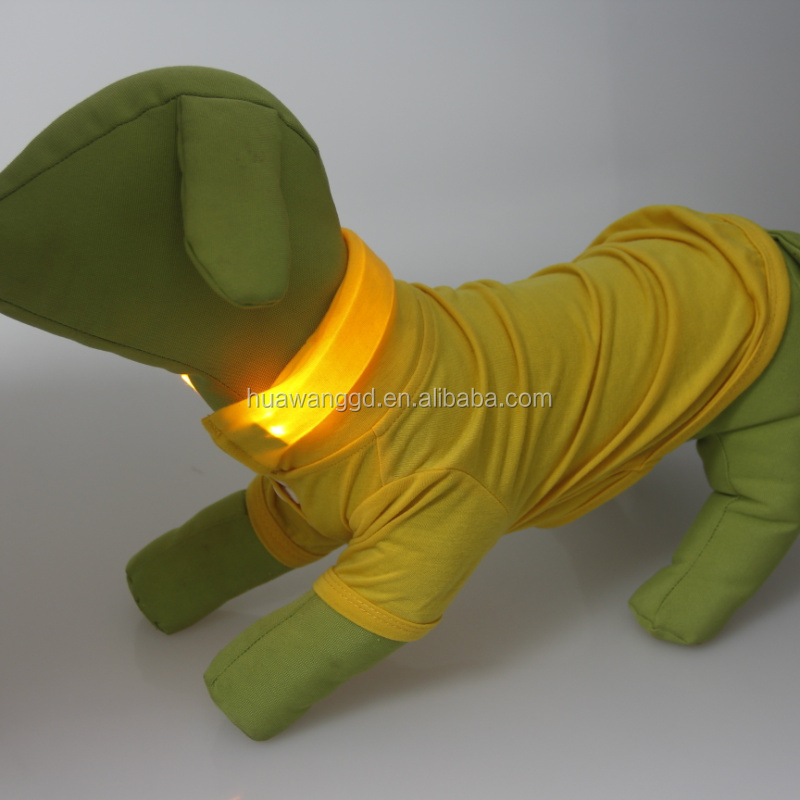 Hot-selling pets dogs LED clothing ,plain POLO dogs shirt with LED collar in various colors