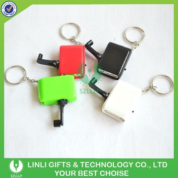 Custom logo rechargeable mini led hand shake torch keychain