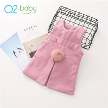 Q2-baby 2018 New Arrival Brand Autumn Kids Clothes Cat Type Children Dress Clothing