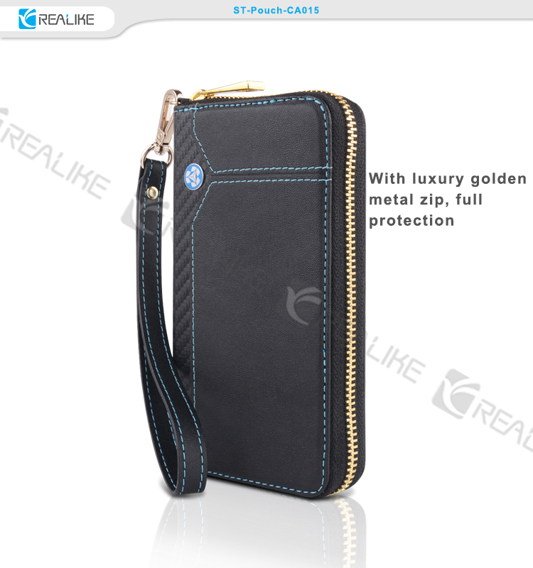 Practical design leather phone pouch with stitching hand rope easy to carry