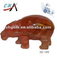 watermelon red Stone Animal Hippo Carved