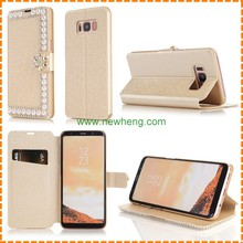 Hot sale Silk print Rhinestone pearl flip stand wallet leather case for Samsung Galaxy s8 plus