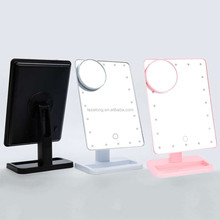 new fashion led desktop makeup mirror magnifying 10x mirrors with adjustable brightness lights led light mirror