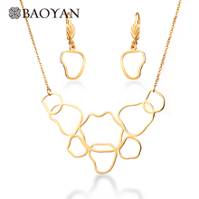 BAOYAN 316L Stainless Steel Jewelry Dubai 18K Gold Plated Cheap Geometric Necklace Earring Jewelry Sets for Women