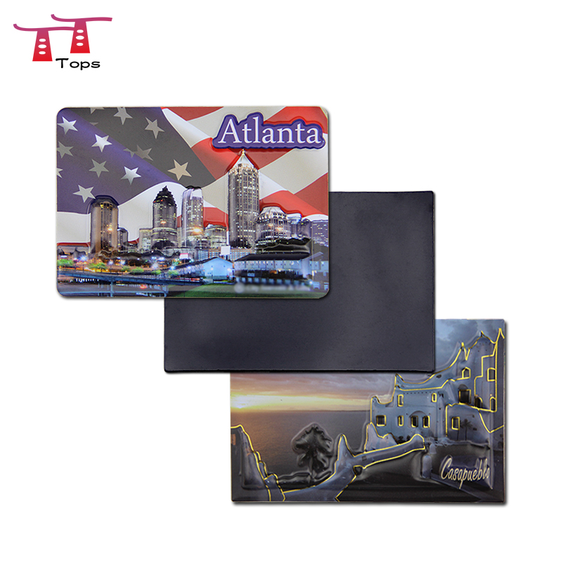 Atlanta paris berlin florida tourist souvenir custom 3d foam puff pop up embossed fridge sticker buy atlanta tourist souvenir 3d pop up fridge magnet