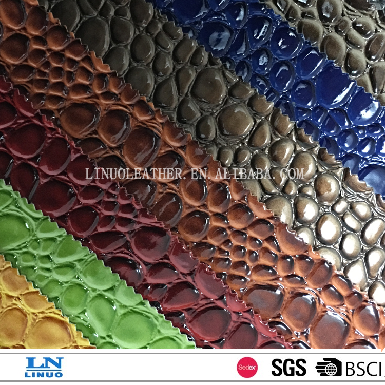 good quality synthetic upper leather embossed leather