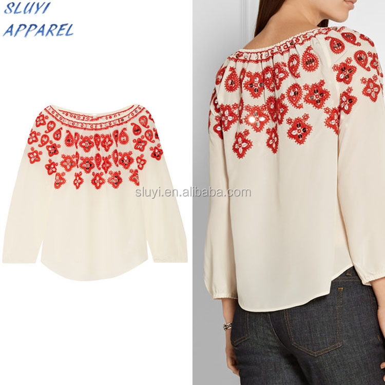 Hand made blouse neck embroidery design for woman,stylish girls top wear latest blouse embroidery designs