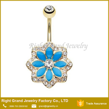 Gold Plated Crystal Blue Enamel Lotus Flower Surgical Steel Belly Button Ring