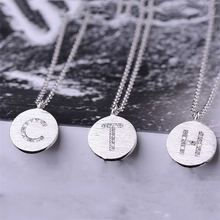 S925 pure silver cute boy and girl pendant necklaces simple letter round Necklace fancy pendant designs for girls