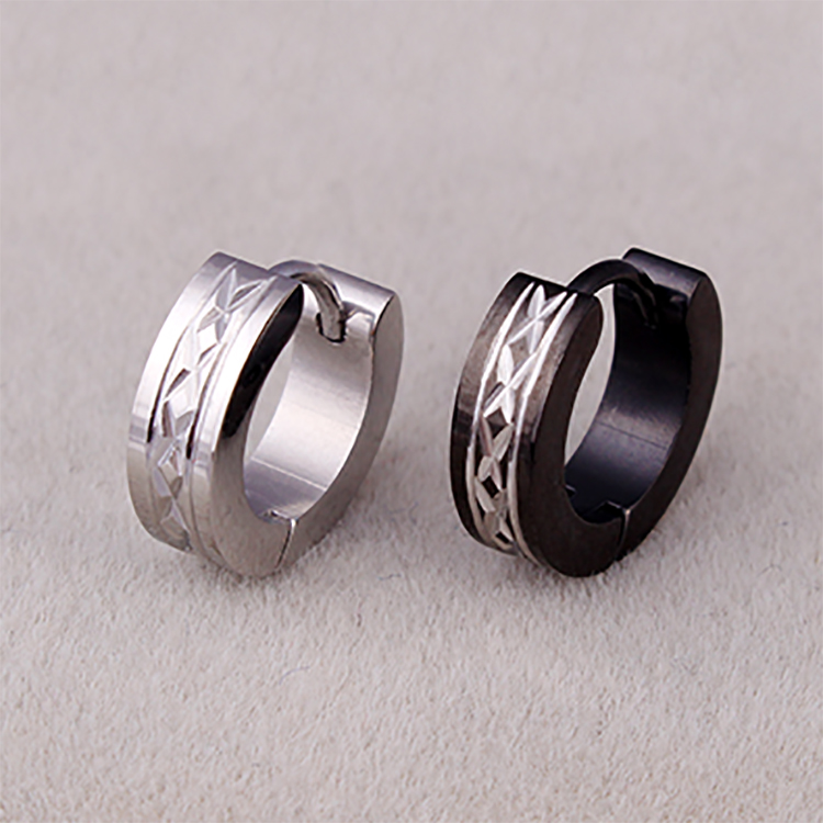 Fashion stainless steel circular black hoop <strong>earrings</strong> for women