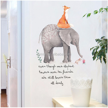 Self Adhesive PVC Wall Paper Designs Elephant Animal Wall Sticker Kid for Children Room