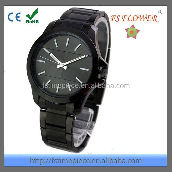 FS FLOWER - Classic Design China Supplier stainless steel chain black color wrist watch For Men