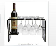 modern design elegant acrylic wine bottle wine glass display stand