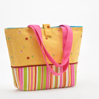Striped cotton canvas shopping bags
