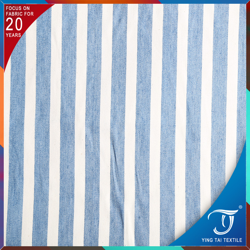 Simple stripe printing fabric 4 oz light weight denim fabric for shirts