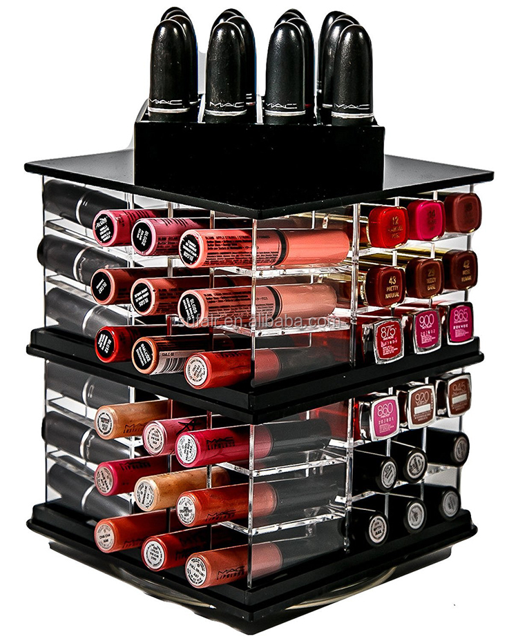 rotatable high quality decoration large capacity with slots acrylic lipstick tower organizer