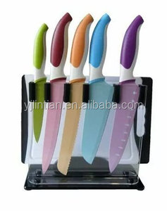 factory suppley OEM design hot sale colorful 6pcs kitchen knife set with acrylic block