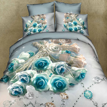 romantic rose and diamond print 4 piece cotton bed sheets 3d