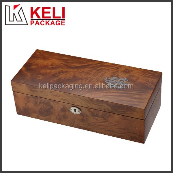 locked wooden wine gift box with silk printing