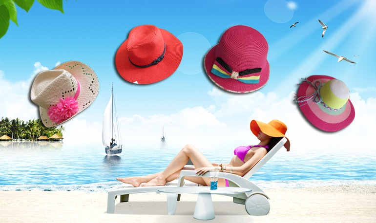 fashion ladies wide brim straw beach sun hat