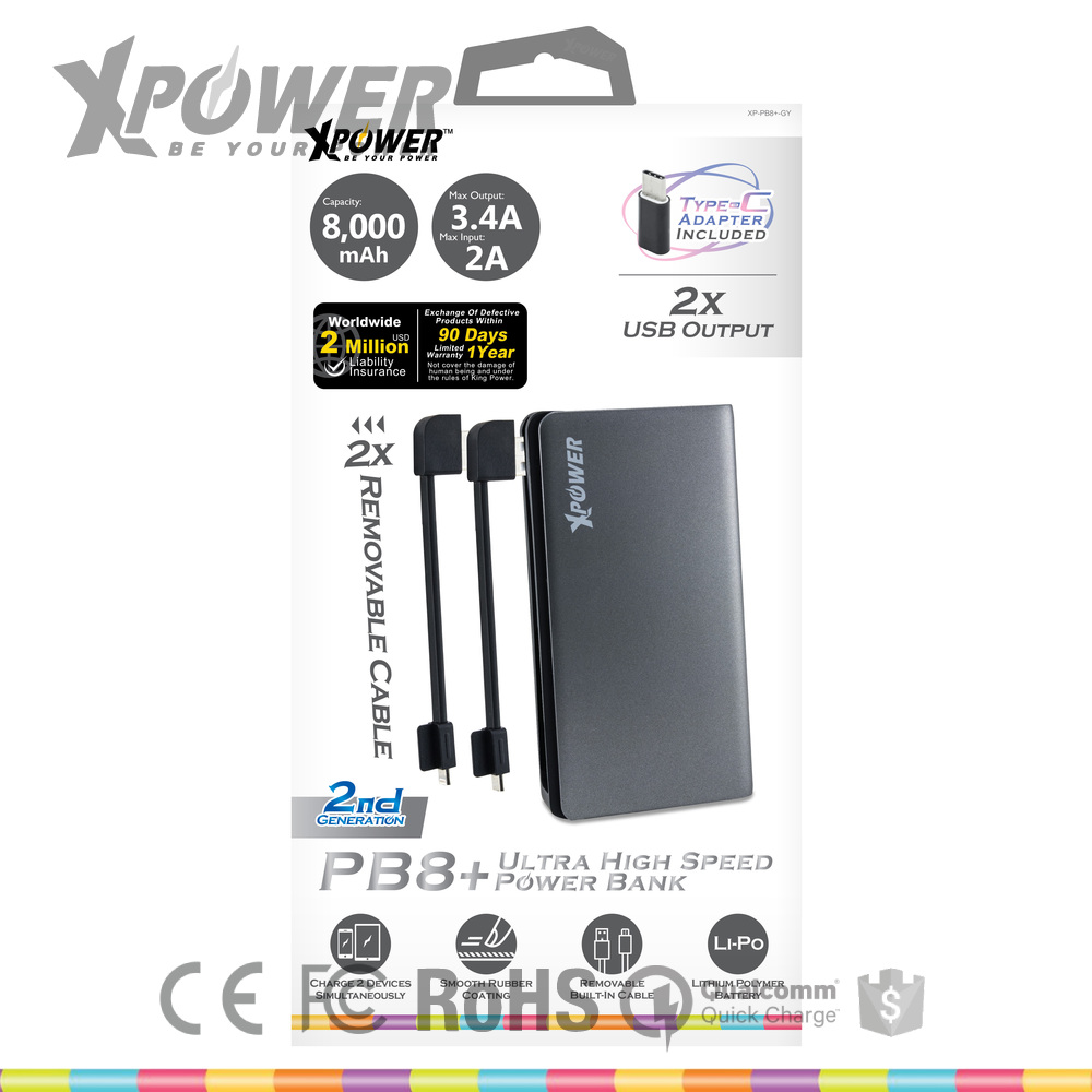 Hot Selling Branded RoHS Lithium polymer Battery two usb ports Mini Grey IPod travel BankPower for iphone 7plus