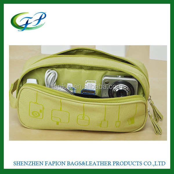 two compartments portable zipper multi-functional electronic accessories mobile phone charger travel bags